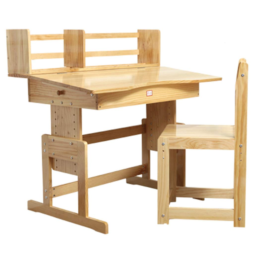 Children's Study Table Wooden Children's Study Table Adjustable Writing Desk Student Desk Bookshelf Household Table Chair Set (Color : Unpainted(90cm))