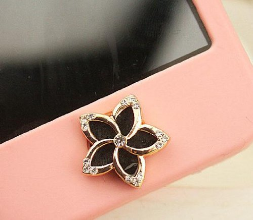 eBADA Black Flower with Diamond Decorated Iphone Crystal Home Return Keys Buttons Sticker For iPhone 4S iPhone 5 iPod Touch iPad Repair Fix Replace Replacement
