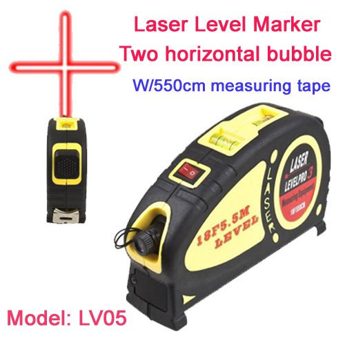 Sinotech Multifunctional Laser Level Marker W/550cm Measuring Tape with Two Horizontal Bubble Lv05