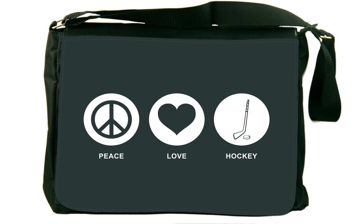 Rikki Knight Peace Love Hockey Green Color Messenger Bag School Bag