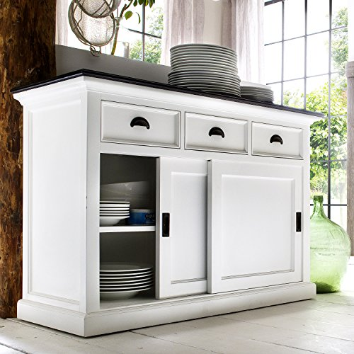 Low Country Sideboard (Halifax White with Black Top Mahogany Buffet, Dresser or Sideboard Offering 3 Drawers and 2 Sliding Doors in Distressed Finish (White/black TOP Distressed))