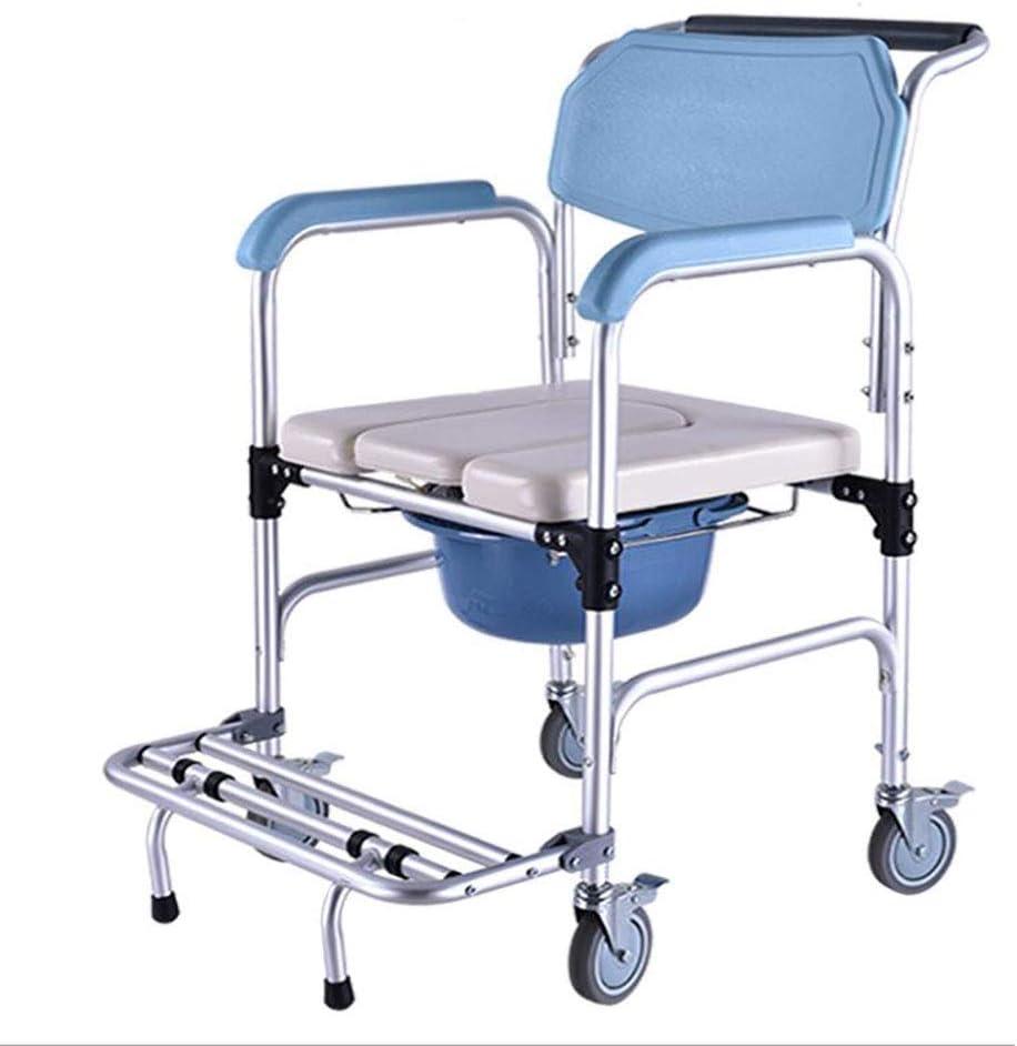 Silla de inodoro de cabecera, silla de inodoro de inodoro de aleación de aluminio, marco de seguridad para inodoro con ruedas, inodoro médico para discapacitados y personas mayores, 300 lb