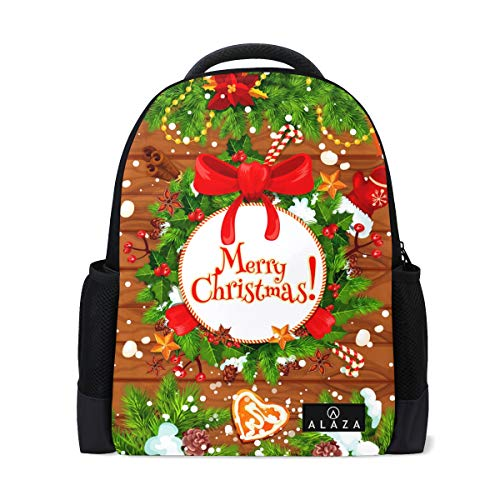 Christmas Tree Holly Wreath Print Laptop Backpack High School Bookbag Casual Travel Daypack