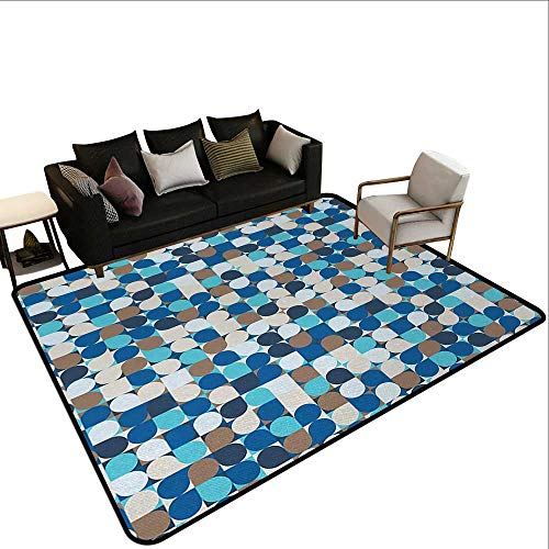 - rv Rugs for Outside Abstract,Circles in Squares Mosaic Pattern Pastel Colors Modern Geometric Tile Illustration,Multicolor,for Living Room Bedrooms Kids Nursery Home Decor 2'x 4'