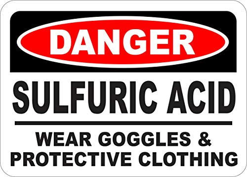 INDIGOS UG - Sticker - Safety - Warning - Danger Sulfuric Acid Wear Goggles Sign 355mmx254mm - Decal for Office - Company - School - Hotel