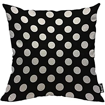 Mugod Polka Dot Throw Pillow Case,Abstract Circle Geometric Pattern Retro Black and White Cotton Linen Cushion Cover for Men Women Sofa Armchair Bedroom Livingroom 18x18 Inch