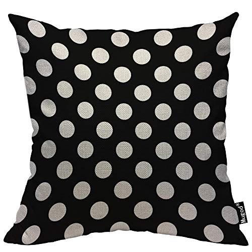 - Mugod Polka Dot Throw Pillow Case Abstract Circle Geometric Pattern Retro Black and White Cotton Linen Cushion Cover for Men Women Sofa Armchair Bedroom Livingroom 18x18 Inch