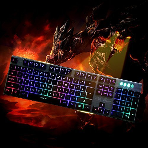DMYCO Mechanical Feeling Backlit Keyboard LED Gaming Keyboard with Adjustable Backlight USB Wired Illuminated Computer Keyboard for PC Games Office (Multicolor Backlight)