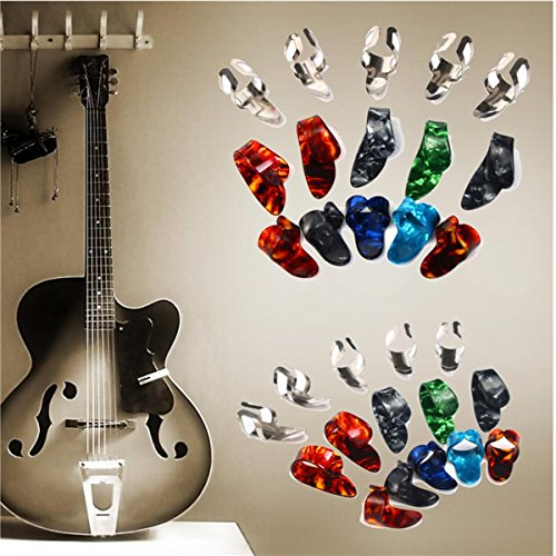 15pcs Stainless Steel Celluloid Thumb Finger Guitar Picks with Case - 6