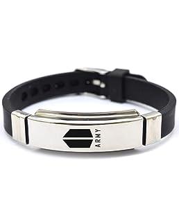 gerFogoo Kpop BLACKPINK Bangtan Boys Bracelet JUNGKOOK J-HOPE JIN Wristband Fashion Jewelry(L?22.5cm H02-Silica gel/Stainless steel)