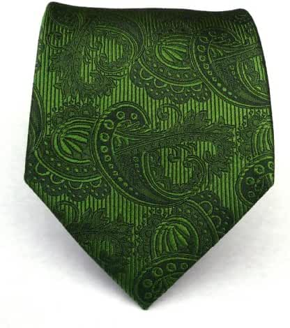 The Tie Bar 100% Woven Silk Clover Green Paisley Tie