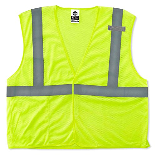 Ergodyne GloWear 8210HL ANSI Economy High Visibility Lime Reflective Safety Vest, Hook & Loop Closure, Large/X-Large