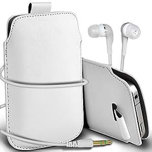 Online-Gadgets UK - Samsung Galaxy Mini S5 premium protección PU Tire de la cubierta del caso Tab bolsa deslizamiento del cordón en el bolsillo y Coincidencia de auriculares de 3,5 mm para auriculares Auriculares - Blanco