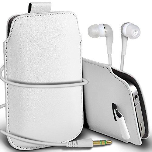 N4U Online - Apple Iphone 5 Prime de protection PU cuir Pull Tab cordon glisser la peau Pouch Pocket Housse & Matching casque 3,5 mm écouteurs écouteurs - Blanc
