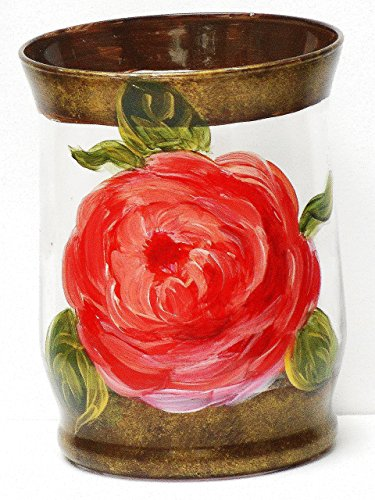 Victorian Rose Glass Votive Holder (One of a Kind Glass Candle Holder with Hand Painted Rose Design)