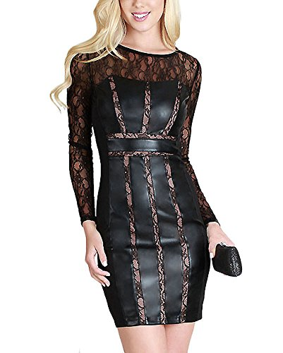 Zumie Couture Lace Detail Sweetheart Neckline Faux Leather Panel Bodycon Dress S by Nikibiki (Neckline Leather)