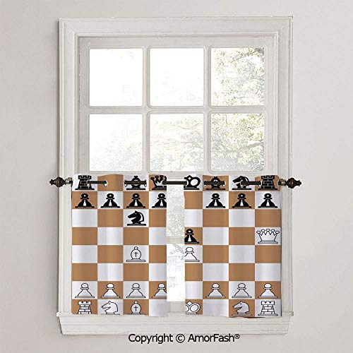Board Game Small Window Blackout Drapes with Ring Top for Basement,Sold by 2 Pieces,W42 x L24-Inch,Opening Position on Chessboard Letters Numbers Squares Pieces Print