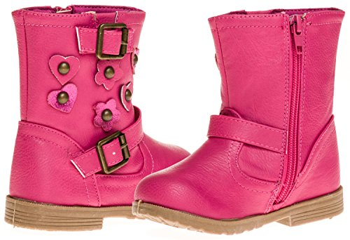Sara Z Toddler Girls Boot With Glitter Hearts And Flowers (Fuchsia), Size (Girls Flower Boots)