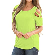 COOKI Women's Loose Strappy Cold Shoulder Top Basic T-Shirt Casual Short Sleeve Tunic Tops Blouse Shirt