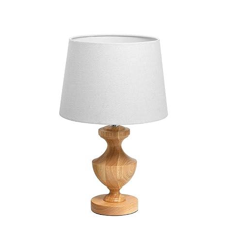 Hbwz Lámpara de Mesa de Madera con Tela Blanca Lámpara de ...