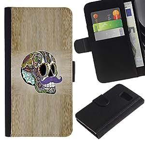 iBinBang / Flip Funda de Cuero Case Cover - Sir Moustache Wood Grain Skull Acid - Samsung Galaxy S6 SM-G920