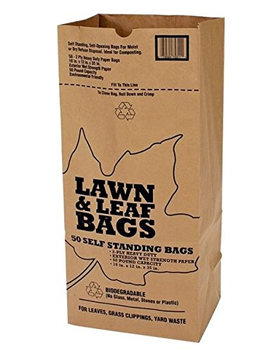 Duro Bags 21089 2-Ply Garbax Lawn and Leaf Bag, 50 lb, 16 in L x 12 in W x 35 in D, Paper, Kraft, (Pack of 5)