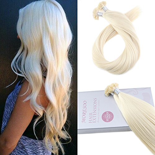 Moresoo 20 Inch Tipped Hair Extensions Keratin Hair Extensions Human Hair Flat Tip Hair Extenions Color #60 Blonde Pre Glued Hair Extensions 100% Remy Hair 1g/1s -