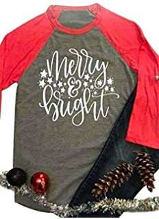 4adf40bf681 Merry Bright Shirts Tops Women Christmas 3 4 Sleeve Graphic Raglan Baseball  Tee T-