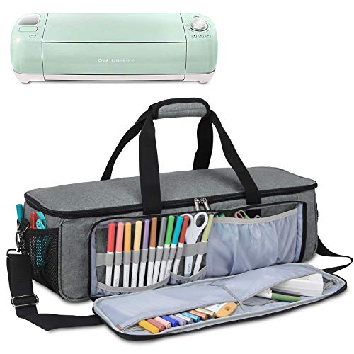 Yarwo Carrying Bag for Cricut Explore Air (Air 2), Cricut Maker Silhouette Cameo 3, Tote Bag Heavy Duty Nylon Travel Bag Compatible with Cricut Accessories Supplies, Bag Only, Grey