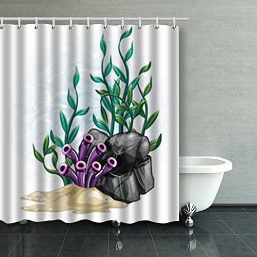 Home Decor Shower Curtains Under Sea Scene Clip Art Rocks Coral Reef Beach 66 By 72 Inches Waterproof Polyester Fabric Bathroom Decorative Bath (Clipart Cottage)