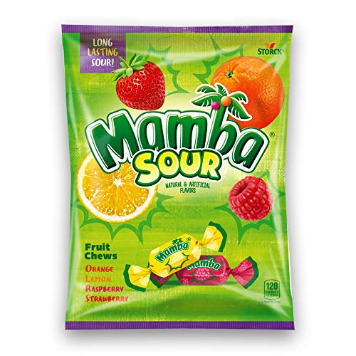 Storck (1) Bag Mamba Sour Long Lasting Fruit Chews Candy Assorted Flavors - Orange, Lemon, Raspberry, Strawberry - 3.52 oz