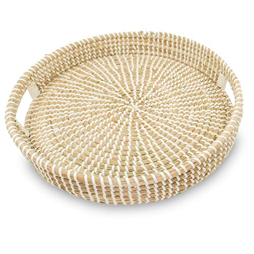Ann Lee Design Round Serving Seagrass Trays (White with Recessed Open Handle) (Tray Wicker Large Round)