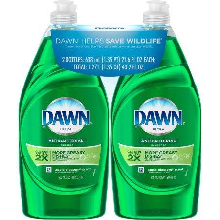 Dawn Ultra Antibacterial Apple Blossom Scent Dishwashing Liquid, 21.6 fl oz, (Pack of 2)