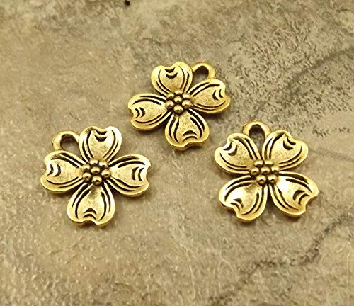 (3 Gold Tone Pewter Dogwood Flower Charms - 5387 for Jewelry Making Bracelet Necklace DIY Crafts)