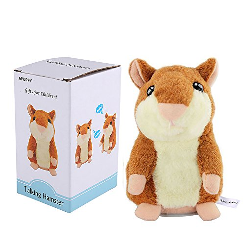 APUPPY Mimicry Pet Talking Hamster Repeats What You Say Plush Animal Toy Electronic Hamster Mouse for Boy and Girl Gift,3...