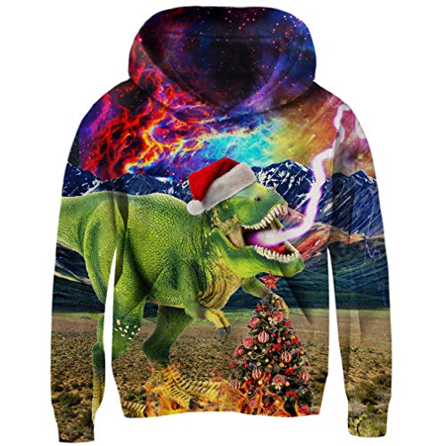 Funnycokid Kids Fleece Hoodie 3D Christmas Dinosaur Funny Xmas Eve Party Sweatshirts Child Pullover Hooded Jumpers