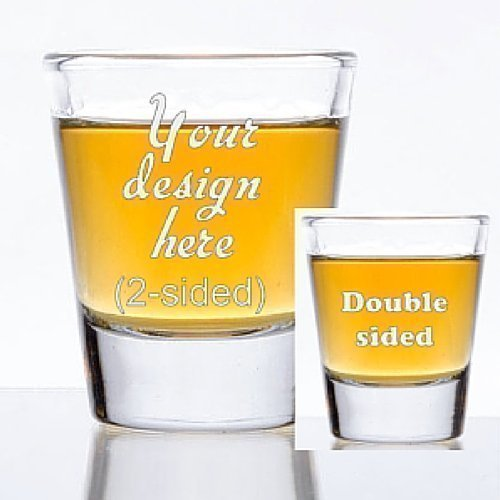 1.5 oz Custom Shot Glass - Glass Etched Personalized Shot Glass - Double - Logo Custom Shotglasses