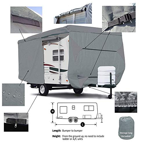 Seamander RV Cover Travel Trailer Extra Thick Triple-ply Top Panel (Grey, Fits 27'-30'Trailers)