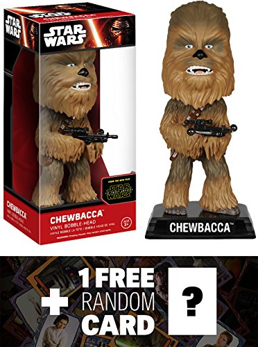 Chewbacca: Wacky Wobbler x Star Wars The Force Awakens Bobble-Head Vinyl Figure + 1 FREE Official Star Wars Trading Card Bundle [62415]