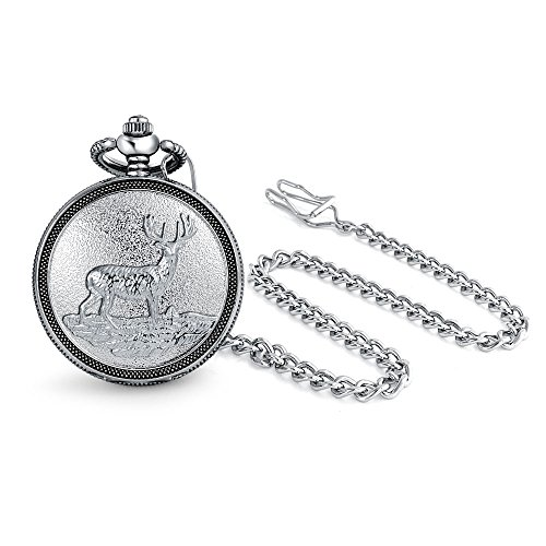 Bling Jewelry Elk Deer Hunter Reindeer White Dial Mens Pocket Watch Matt Silver Tone Plated Alloy with Chain