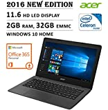 2016 NEW Edition Acer Aspire One 11 Cloudbook 11.6-inch Laptop, Intel Dual-Core Processor, 2GB RAM, 32GB EMMC, 1-year Office 365 Personal, 2 years 100GB OneDrive Storage, Bluetooth, HDMI, Windows 10