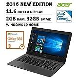 2016 NEW Edition Acer Aspire One 11 Cloudbook 11.6-inch Laptop, Intel Dual-Core Processor, 2GB RAM, 32GB EMMC, 1-year Office 365 Personal, 2 years 100GB OneDrive Storage, Bluetooth, HDMI, Windows 10