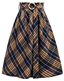 GRACE KARIN Casual Flared A-Line Grid Skirt for Evening Party Brown Plaid Size XL CL052-2