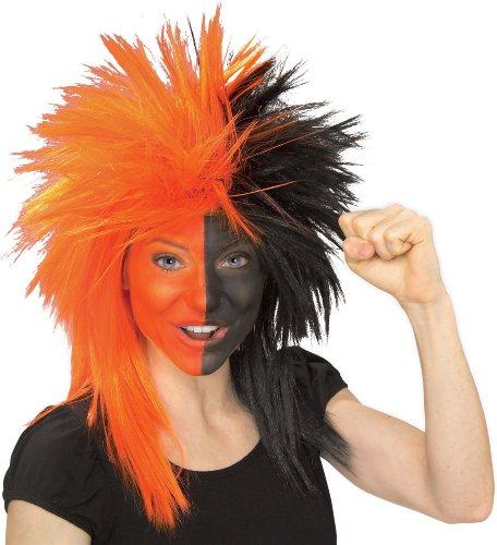 Crazy Football Fan Halloween Costume (Rubie's Orange and Black Sports Fan Wig, Orange/Black, One)