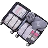 Adwaita 6 Set Packing Cubes, Travel Luggage Packing Organizers (Grey)