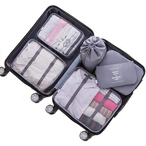Adwaita 6 Set Packing Cubes, Travel Luggage Packing Organizers (Grey) 24' Gear Duffel Bag