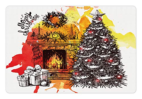 Ambesonne Fireplace Pet Mat for Food and Water, Sketch of Merry Christmas Typography with Tree Log Fire and Gifts, Rectangle Non-Slip Rubber Mat for Dogs and Cats, Multicolor (Products Merry Log)