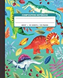 """Composition Notebook: Triceratops / Plateosaurus / Baryonyx / Spinasaurus Dinosaur -  Zoo Animals Exercise Book & Journal , Back To School Gifts For ... Boys Kids Friends Students 8x10"""" 110 Pages"""