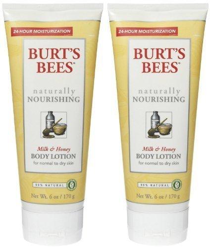 Burt's Bees Naturally Nourishing Milk & Honey Body Lotion 6 oz (Pack of 2)