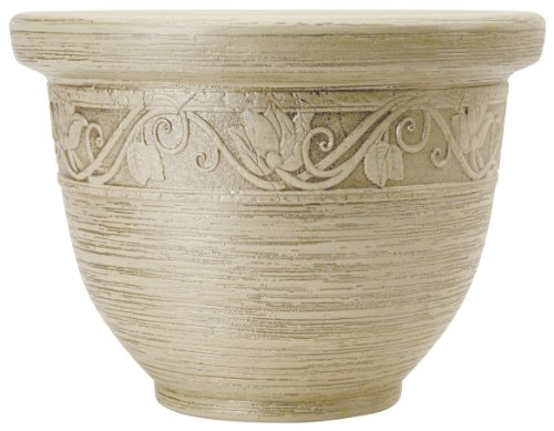 Listo 12-Inch Glaze Resin Pottery, Champagne White